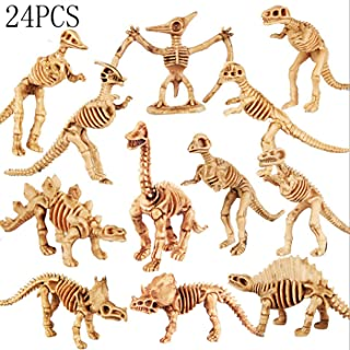 Assorted Dinosaur Fossil Skeleton Assorted Figures Dino Bones for Science Play, Dino Sand Dig, Party Favor and Decorations, 3.7 Inch (24 Pieces)