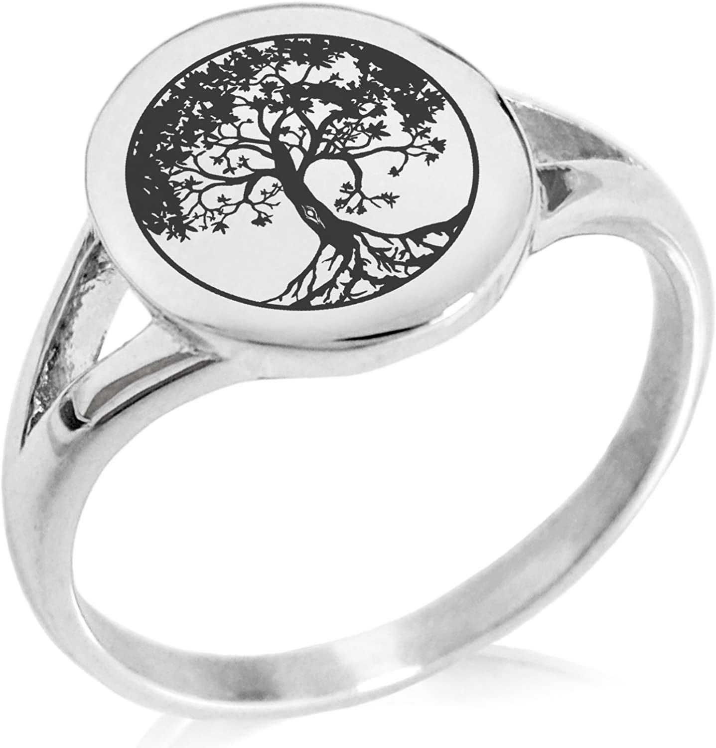 Tioneer Stainless Steel Tree of Life Symbol Minimalist Oval Top Polished Statement Ring