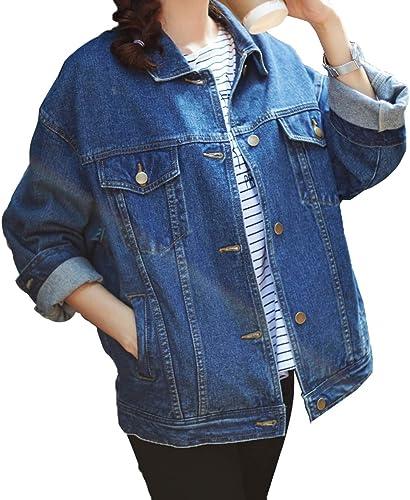wholesale SHAREWIN online Loose Women Blue Washed Pocket online sale Button Boyfriend Denim Coat sale