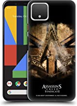 Official Assassin's Creed Gold Shilling Necklace Syndicate Logo Art Hard Back Case Compatible for Google Pixel 4