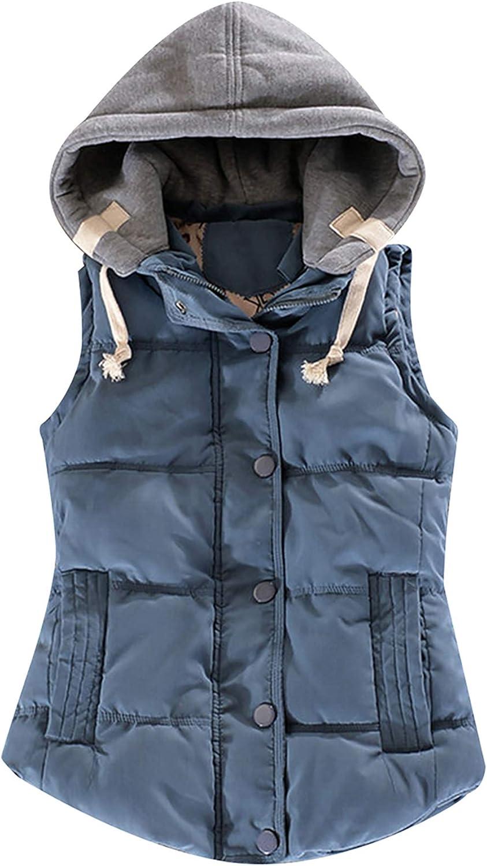 FLITAY Women's Sleeveless Hoodie Vest Quilted Winter Slim Fit Vest Coat