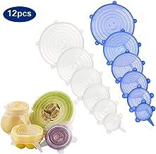 Libres de BPA Protectores Reutilizables de Ajuste herm/ético Gran Durabilidad. recipientes y Alimentos 6 tama/ños Distintos 100 CHECKS 12 Tapas de Silicona el/ásticas y Ajustables para Cocina