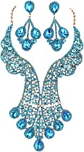 Janefashions Peacock Feather Teal Austrian Rhinestone Crystal Statement Necklace Earring Earrings Set Choker Show Beauty Queen N820t