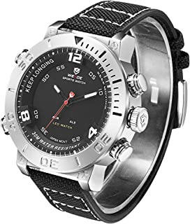 Men Analog Digital Watch Waterproof Led Quartz Dual Time Watches with Nylong Band for Men