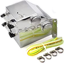 Aluminum Oil Catch Can Coolant Tank Baffled Reservoir Replacement For Subaru Impreza 2.0L 2002-2005 and WRX 2004-2005 2.5L WRX STI 4 Door w/Hose Black