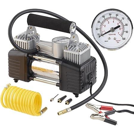 Lescars 12v Kompressor Mobiler Luft Kompressor Manometer 12 V 100 Psi 288 Watt 3 Adapter Druckluft Kompressor Auto