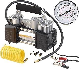 Lescars 12V Kompressor: Mobiler Luft Kompressor, Manometer, 12 V, 100 psi, 288 Watt, 3 Adapter (Druckluft Kompressor)