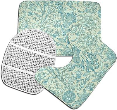 40x60cm Jxrodekz Backing Kraken Octopus Tentacle Bathroom Rugs and Mats Sets 3 Piece Bath Mat U-Shaped Contour Shower Mat Non Slip Absorbent Toilet Lid Cover Washable