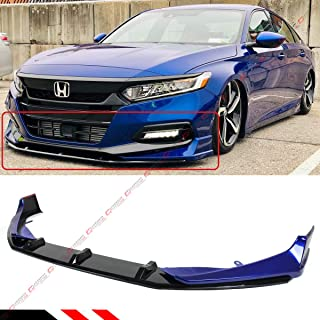 Fits for 2018-2019 Honda Accord Akasaka 5 Pieces Design Painted Still Night Pearl Blue Front Bumper Splitter + Glossy Black Lip Spoiler Kit