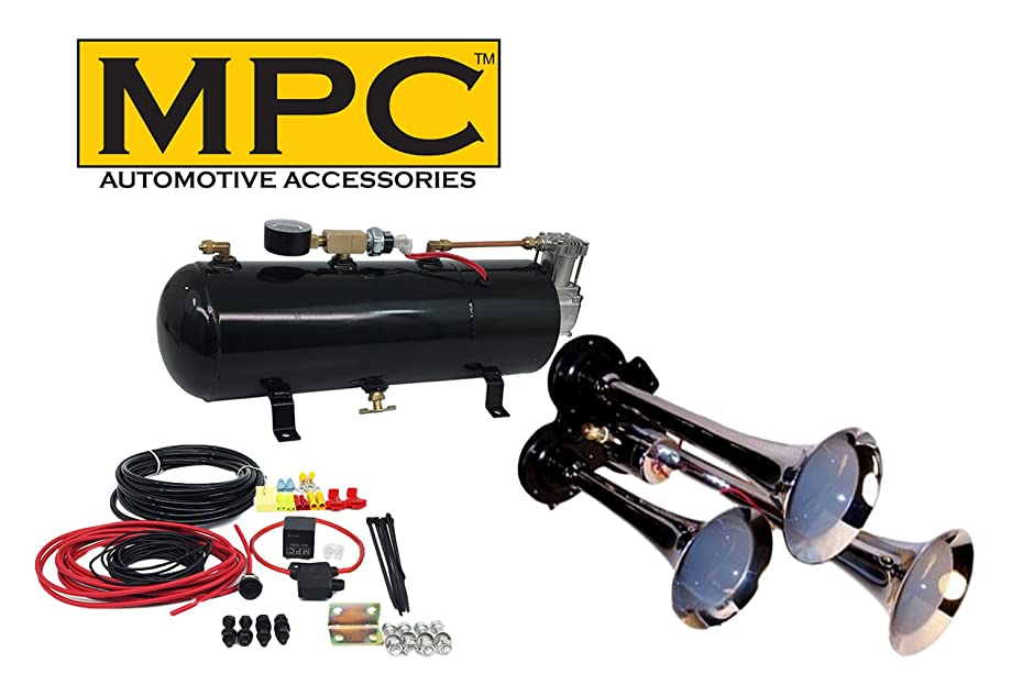 MPC M1 (0933) 3-Trumpet Train Air Horn Kit, 110 psi Air System, 150dB+, Metal