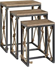 Crestview Collection CVFZR4083 Bar Harbor Rustic Wood and Metal Rope Nested Tables Furniture