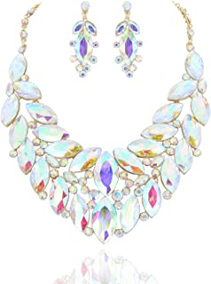SP Sophia Collection Drop Collar Austrian Crystal Marquise Rhinestone Cluster Necklace and Stud Post Dangling Earring Set
