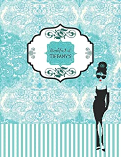 Breakfast at Tiffany's: Turquoise blue pattern with Audrey Hepburn shade and New York skyline inside lined pages book (8.5 x 11) Ruled large journal ... or meeting notes (Positive Vibrations)