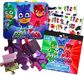 PJ Masks Activity Box Set -- Deluxe Tin Lunch Box, Puzzle, and Stickers (PJ Masks School Supplies, Party Supplies)