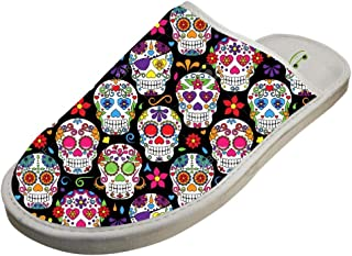 Adult Stylish Design House Slippers,Day Of The Dead Sugar Skull Printing Home shoes/Cotton slippers