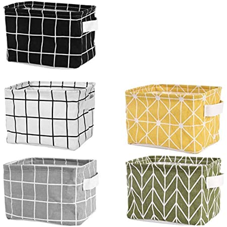 Folding Storage Basket Organizer Desk Tidy Whtie Desktop Sundries Linen Fabric J