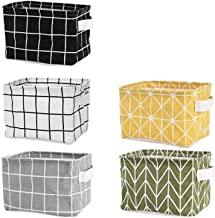 Tamicy Mini Storage Basket(Pack of 5)- Blend Storage Bins for Makeup, Book, Baby Toy,8x6x5.5 inch Home Decor Canvas Organi...