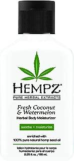 Hempz Herbal Body Moisturizer, Pearl White, Fresh Coconut/Watermelon, 2.25 Ounce