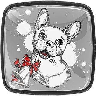 Paquet de 4 boutons d'armoire de cuisine, boutons pour tiroirs de commode Bulldog français avec des cloches de Noël Tire l...