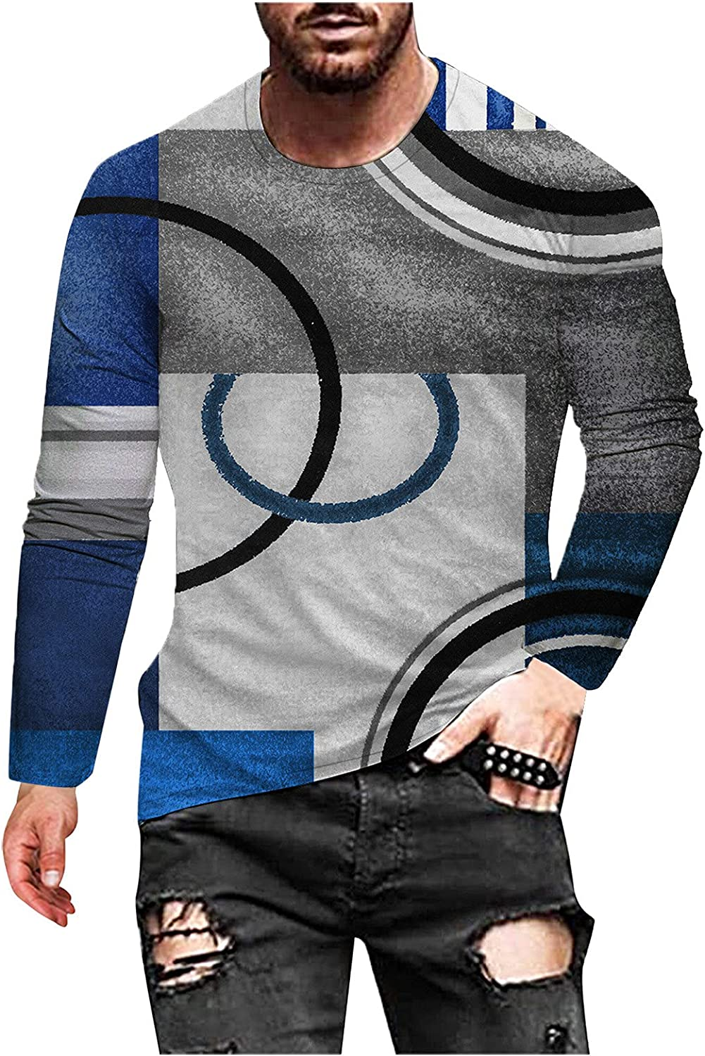 XXBR Soldier Long Sleeve T-shirts for Mens, Fall Street Abstract Art Vintage Print Workout Athletics Crewneck Tee Tops