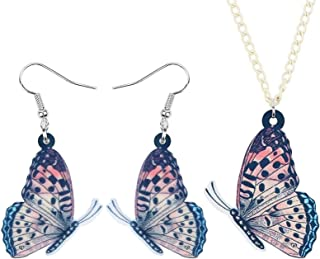 Acrylic Flying Butterfly Jewelry Sets Insect Animal Earrings Necklace For Women Girls Charms Gifts FATEGGS (Color : Orange)