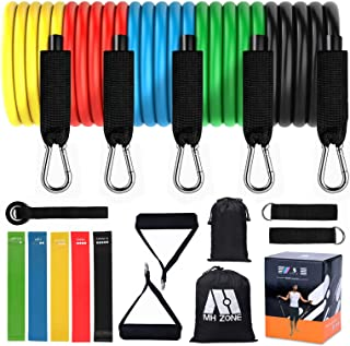 MH Zone Resistance Band Set 16 pc Resistance Band Set with 5 Exercise Bands, Door Anchor and Legs Ankle Straps, Fit for Re...