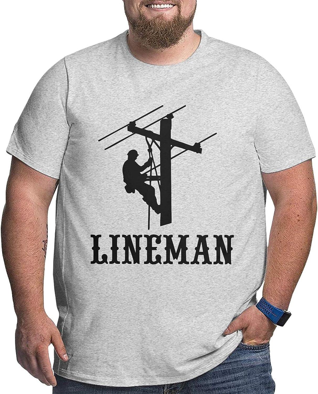 American Flag Lineman Powerline Technician Man's Simple Big Size Summer Outdoor Short Sleeve Round Collar Tshirts
