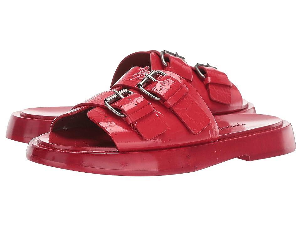 Marsell Buckle Detail Slide Sandal (Strawberry Red) Women