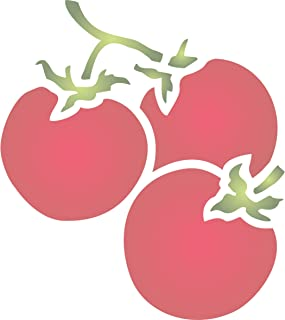 """Tomato Stencil - (size 4.5""""w x 5""""h) Reusable Wall Stencils for Painting - Best Quality Vegetable Kitchen Stencil Ideas - Use on Walls, Floors, Fabrics, Glass, Wood, Terracotta, and More…"""