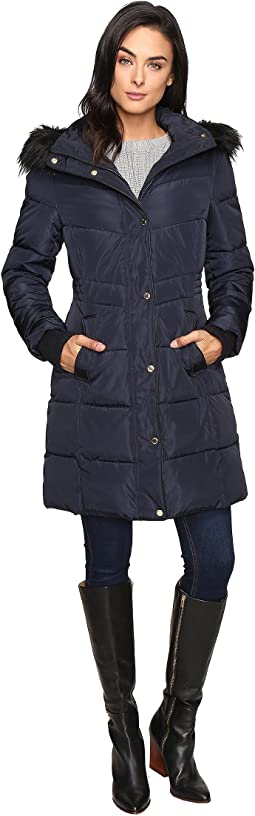 Long Puffer w/ Waist Detail Hood and Faux Fur