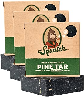 Dr. Squatch Pine Tar Soap 3-Pack Bundle – Mens Bar with Natural Woodsy Scent and Skin Exfoliating Scrub – Handmade with Pi...
