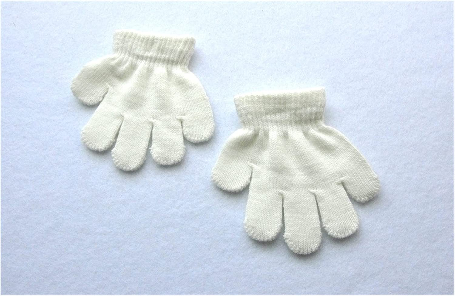 GUYANMAY Gloves 1-3years Children Winter Warm Gloves Baby Girls Baby Boys Toddler Knitted Acrylic Gloves Warm (Color : White)
