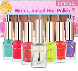 emosa Peelable Nail Polish Makeup Kit Natural Non Toxic Chemical Free Water Based Fast Drying Nail Varnish Gift Set for Little Girls,Toddler,Kids,Women (Easy Peel Off, 7 Bottles)