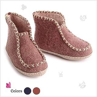 Egos Copenhagen Felted Wool Slippers - Boots Style Bedroom Slippers Kids Junior. 100% Handmade from Sheep's Wool Free Cute Slipper Bonus Keyring