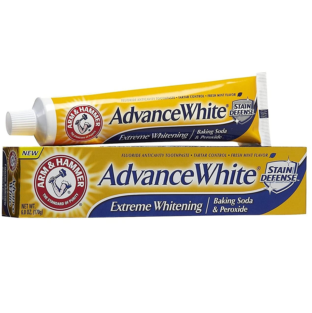 パイントあご冷淡な【6本セット】【海外直送品】ARM&HAMMER Advance White Baking Soda & Peroxide 6oz(170g)x6本