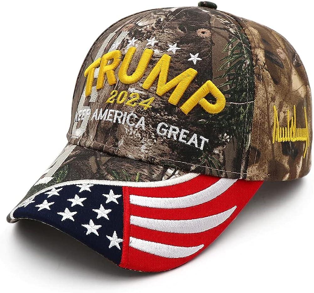 Puoyis Trump Hat 2024 Embroidered Trump MAGA Hat Keep America Great Baseball Cap