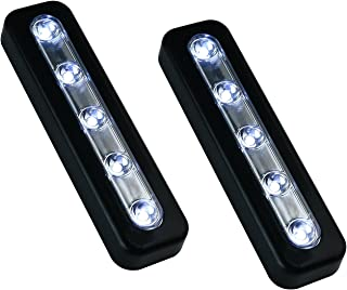 VILONG Super Bright DIY Stick-on Anywhere 5-LED Touch Tap Light Push Light, Car, Sheds, Storage Room,LED Night Light(2 Pack) (Black)
