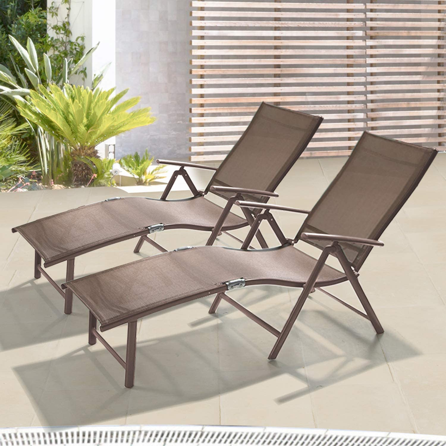 Set of 2 Patio Chaise Lounge Outdoor Adjustable Folding Lounge Chair Recliner with 8 Adjustable Backrest Positions for Pool Beach Yard : Patio, Lawn & Garden