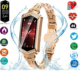 Smart Watch, Fitness Tracker with Heart Rate & Blood Pressure & Sleep Monitor for Android & iOS, IP67, Activity Tracker Watch with Calorie Counter & Pedometer, Smart Watch Wristband for Women (Gold)