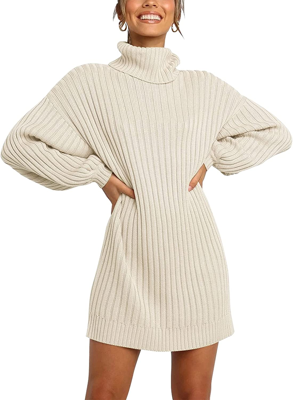 YIBOCK Women Turtleneck Sweater Dress Long Lantern Sleeve Casual Loose Oversized Winter Knit Pullover Mini Dresses