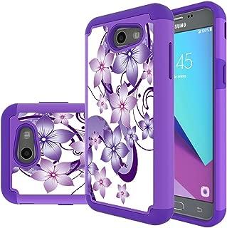 Samsung Galaxy J3 Mission Case,J3 Eclipse,J3 Emerge,J3 Prime,J3 Luna Pro,Sol 2,Amp Prime 2 Case,Yiakeng Shockproof Impact Protection Tough Rugged Armor Cover for Samsung J3 2017 (Purple Flower)