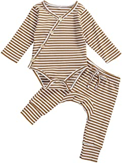 Newborn Baby Boy Girl Fall Clothes Stripe Kimono Long Sleeve Knit Romper Top+Harem Pants Pajamas 2PCS Ribbed Outfit Set