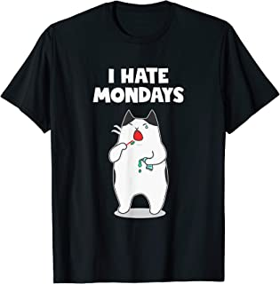Funny Friend Cat Lover I Hate Monday T-Shirt