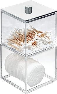 iDesign 42770EU cosmétiques avec Couvercle, Rangement empilable en Plastique, boîte tiges ou à Cotons pour la Salle de Bai...