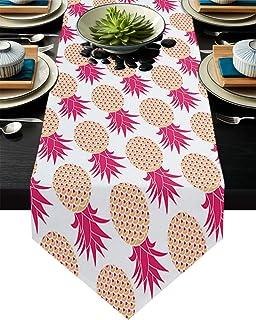 FAMILYDECOR - Camino de mesa de arpillera de lino (13 x 120 cm) diseño de piña rosa