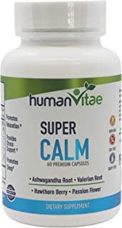 Super Calm Dietary Supplement with Vitamin B6, Magnesium Oxide, Ashwagandha Root Extract, Passion-Flower Extract, Valerian...