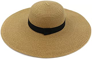 PengCheng Pang 2019 New Grass Handmade Soft Crochet Folding Straw Sun Hat Summer Hat Women Beach Hat (Color : Coffee, Size : 56-58CM)