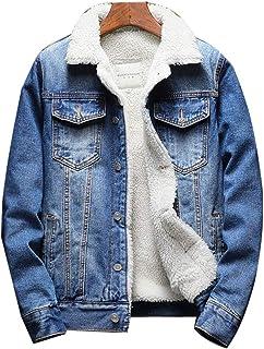Yunping ボアデニムジャケット メンズ 裏ボア ジージャン 厚手 防寒 コート ジージャン Gジャン 折り襟 アウター ブルゾン 防寒 ジーンズ