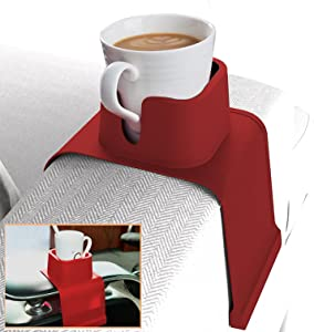 Couch Cup Holder for Sofa, 2021 Upgraded Coffee Tea Silicone Water Sofa Cup Holder Couch Coaster, Anti-Slip Sofa Cup Holders Armrest Cup Holder Gadgets for Home Bar Kitchen [Red]