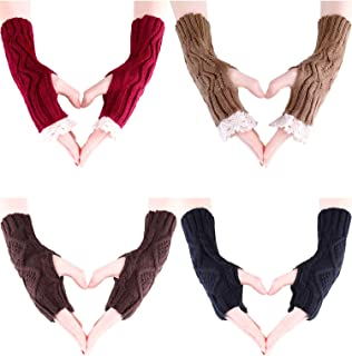 Sumind 4 Pairs Winter Knit Fingerless Gloves with Thumb Hole Women Hand Warmers Crochet Mittens for Winter Accessory, 2 Styles